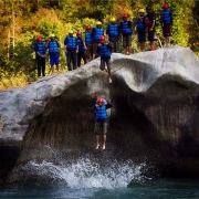 Jumping into the Bhote Koshi river, Nepal