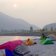 Camping on Sun Koshi riverside, Nepal