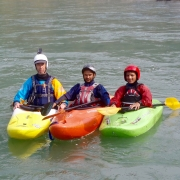 Kayaking on Sun Koshi river, Nepal.