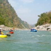 Rafting down the Sun Koshi river, Nepal