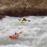 Kayaking the Harkapur rapids (Class V), Sun Koshi river, Nepal