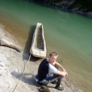 Local canoe, Sun Koshi riverside, Nepal