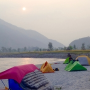Camping on Sun Koshi riverside, Nepal