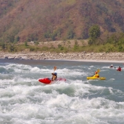 Kayaking George Rapids, on Sun Koshi river, Nepal.