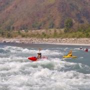 Kayaking George Rapids, on Sun Koshi river, Nepal.