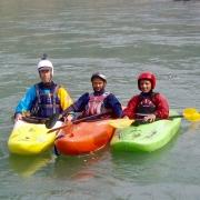 Kayaking on Sun Koshi river, Nepal.