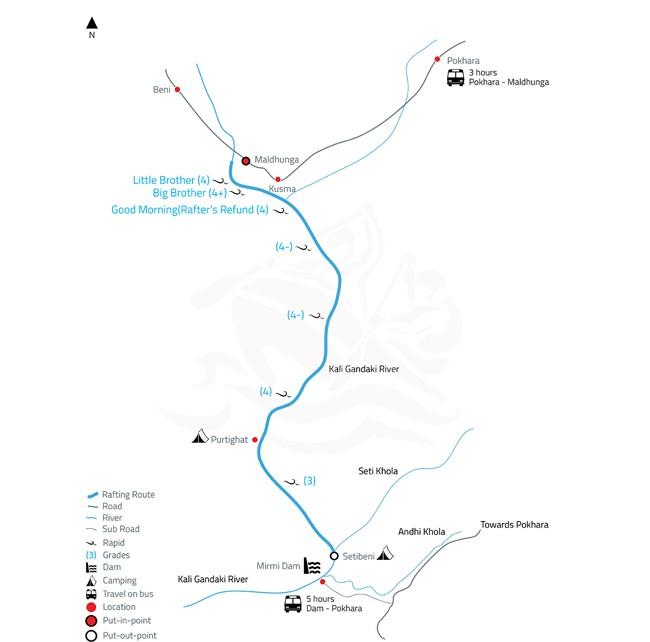Kali Gandaki White Water Rafting and Kayaking – 3 Days-map