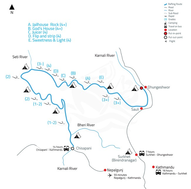 Karnali White Water Rafting and Kayaking Expedition – 10 Days-map