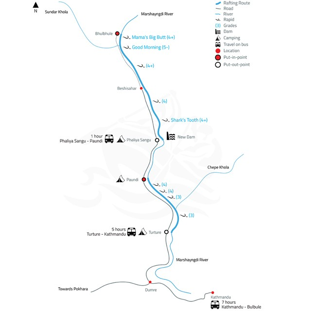 Marshyangdi White Water Rafting and Kayaking – 3 Days-map