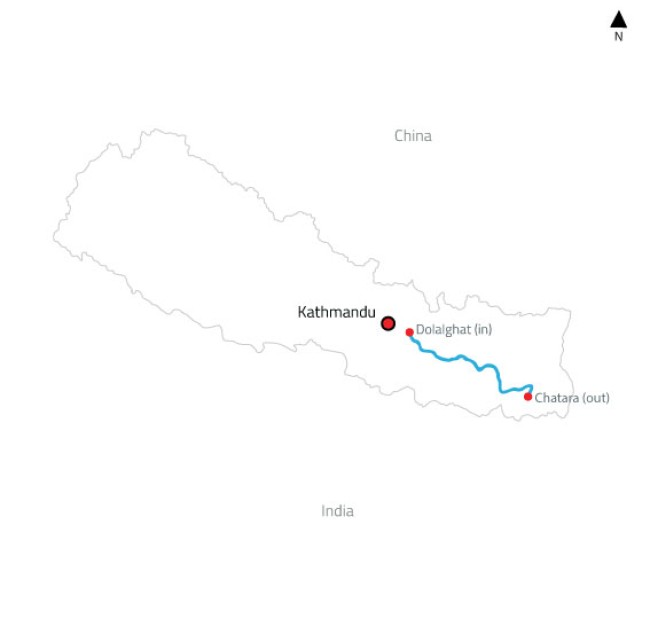 Sun Koshi White Water Rafting and Kayaking Expedition – 2 Days-map