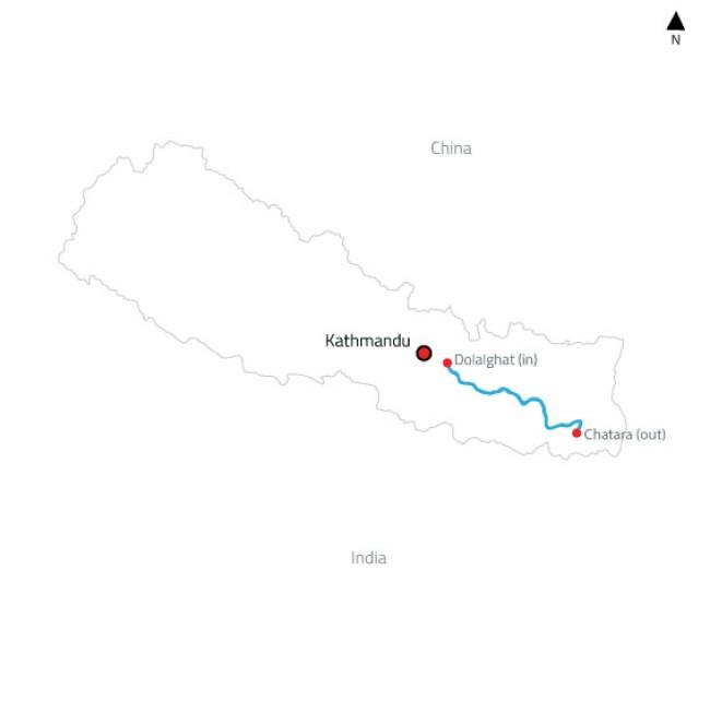Sun Koshi White Water Rafting and Kayaking Expedition – 12 Days-map