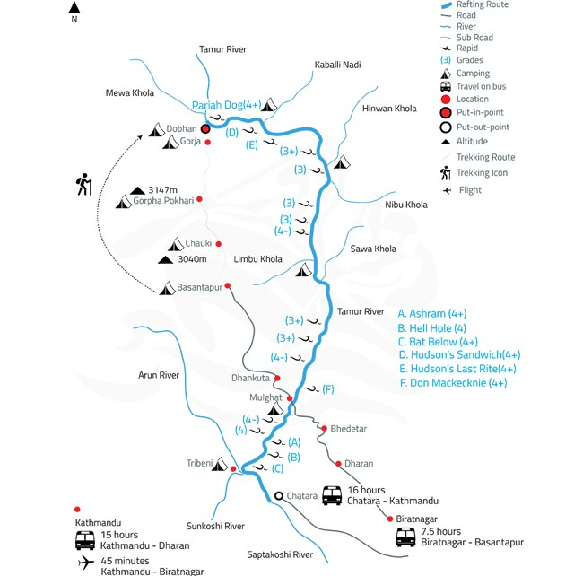Tamur White Water Rafting and Kayaking Expedition – 12 Days-map