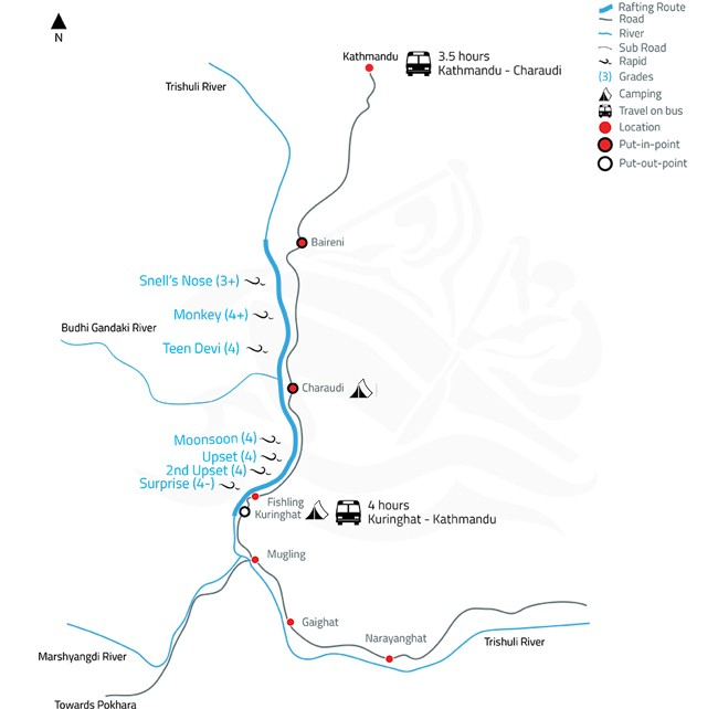 Trishuli White Water Rafting or Kayaking – 1 Day-map