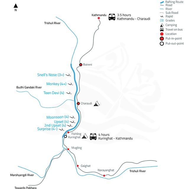 Trishuli White Water Rafting and Kayaking – 2 Days-map